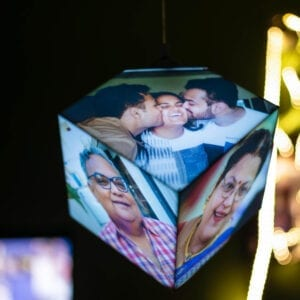 hanging dice shaped photo lamp for home decor