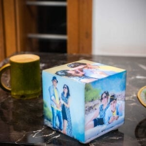 Cube lamp with photos for personalized birthday gift