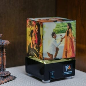 Small rotating lamp with photos for birthday gift