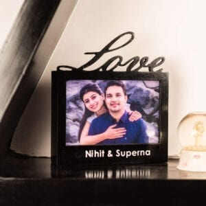 love cutout photo frame in wood