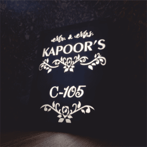 name plate with light
