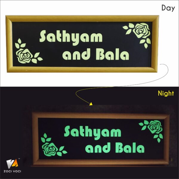 name plate for home which glows in dark
