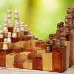 3d Chess board game in wood