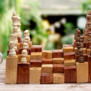 3D chess board game made in wood
