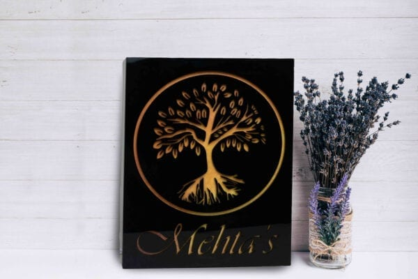 Acrylic Name plate with tree design