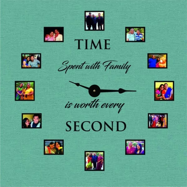 family photo frame personalised wall clock
