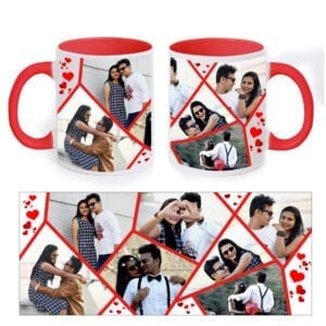 Personalized red collage mug