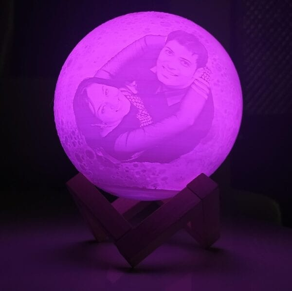 Personalized moon lamp with pink light
