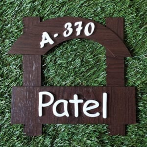 Smiling wooden name plate with acrylic fonts