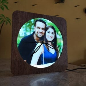 Radiance customized photo frame with light and clock