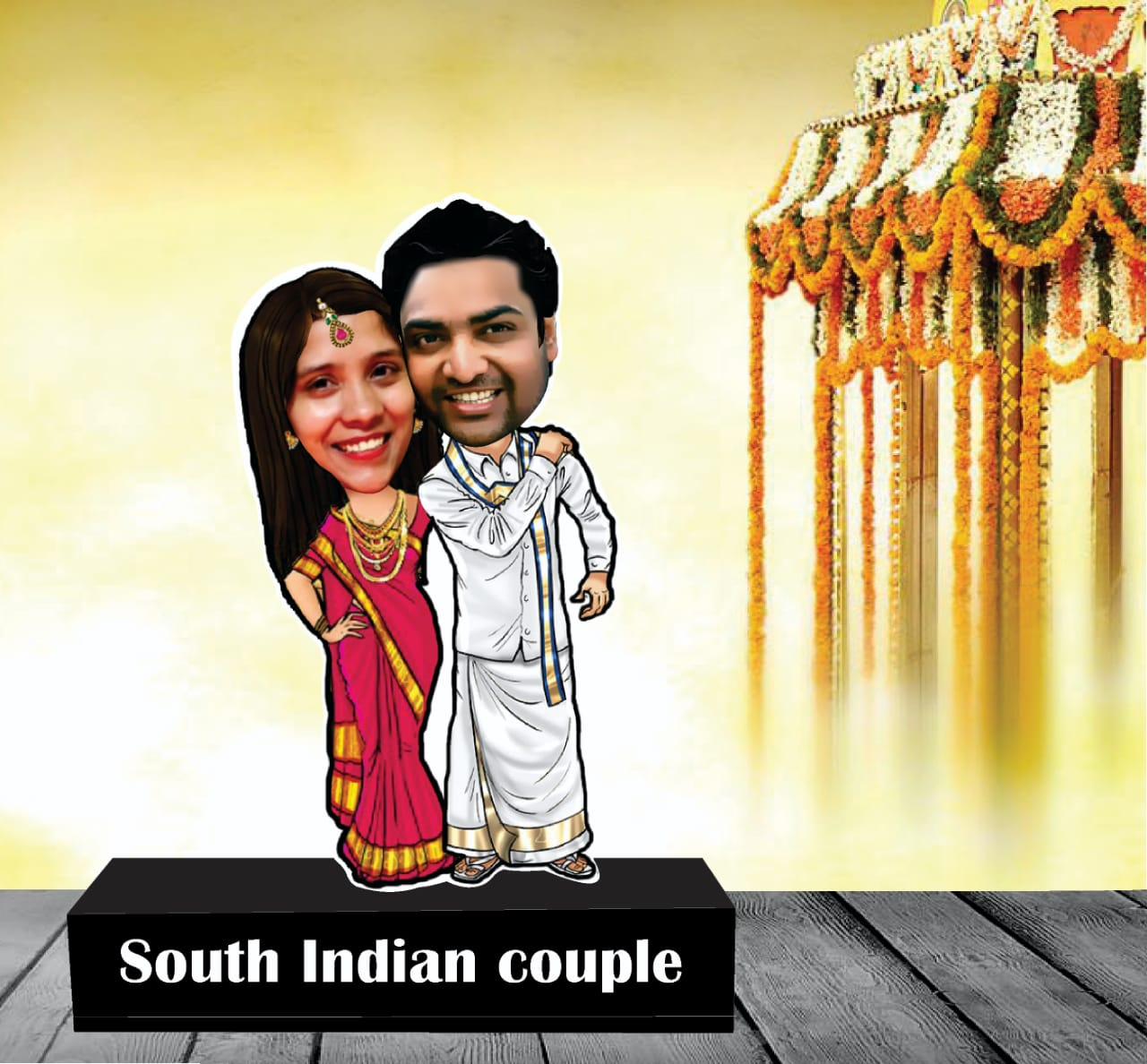 South indian couple wedding caricature standee