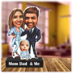 Couple with a baby caricature standee
