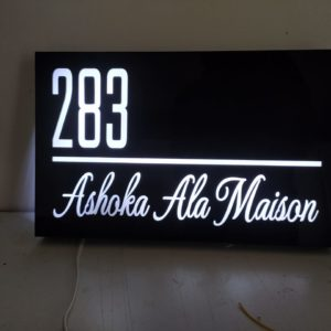 Classic balck and white light name plate